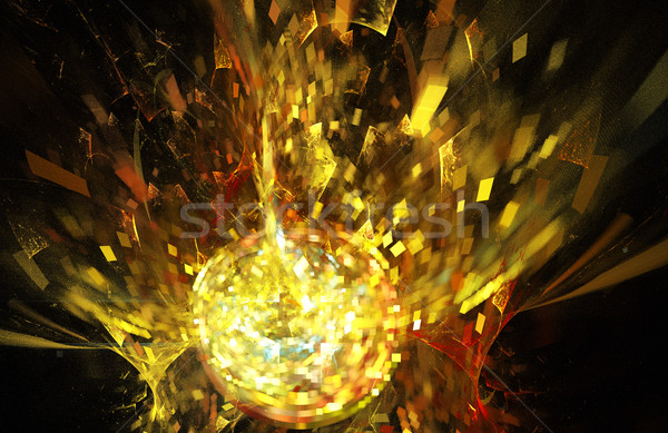 fractal illustration background with golden disco ball explosion Stock photo © yurkina