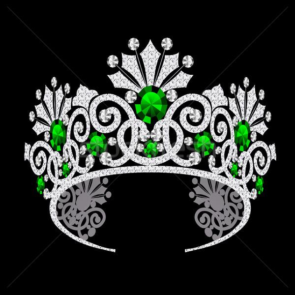 Nőies esküvő smaragd illusztráció terv korona Stock fotó © yurkina