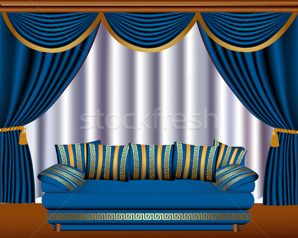 Stock photo:  window blinds with cyst and sofa