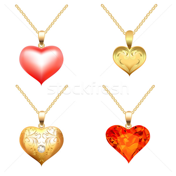 Ayarlamak değerli taşlar form kalp örnek Stok fotoğraf © yurkina