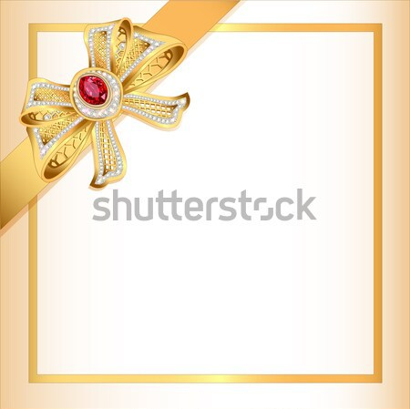 background with gold ribbon and jewels Stock photo © yurkina