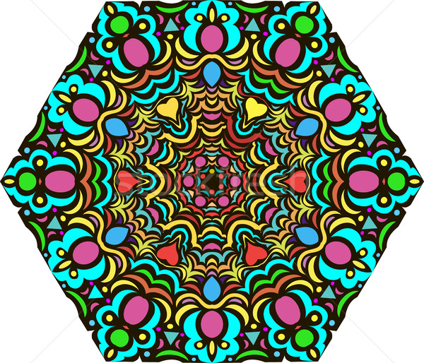 illustration background with bright  mandala pattern with jewels Stock photo © yurkina