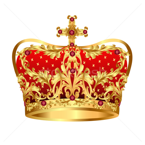 Royal gold crown with red precious stones Stock photo © yurkina