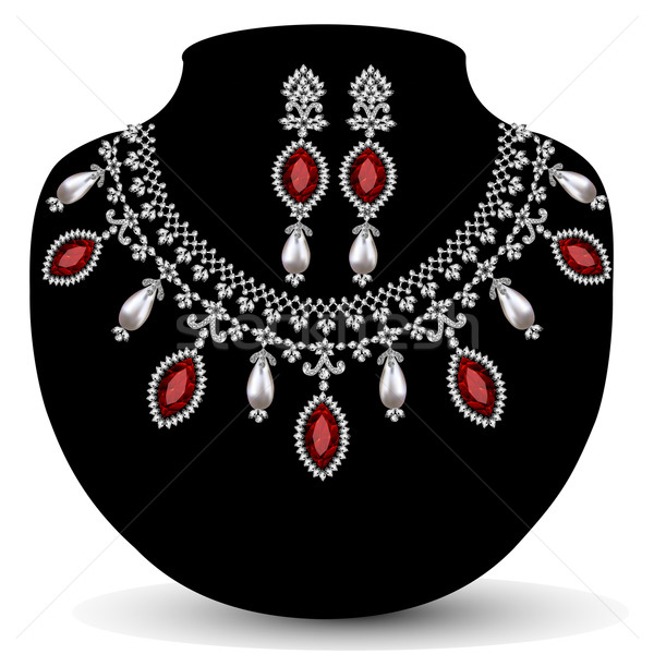 necklace with her wedding with red precious stones Stock photo © yurkina