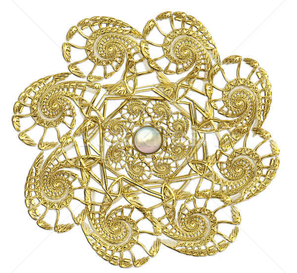 Stockfoto: Fractal · goud · broche · parels · illustratie · abstract