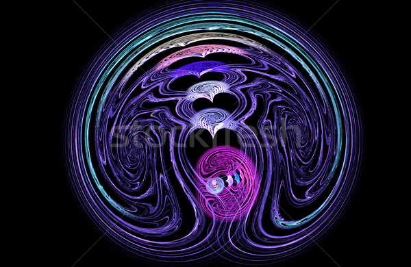Fractal illustration of abstract tech background with brain and  Stock photo © yurkina