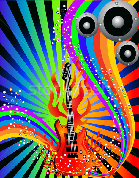 music background with guitar and rainbow Stock photo © yurkina