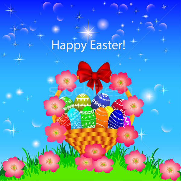 of a postcard in the Easter basket of eggs flower Stock photo © yurkina