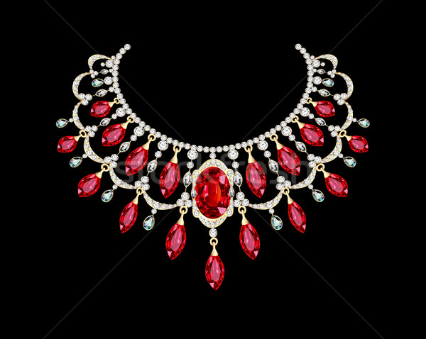 Golden necklace  female with red precious stones Stock photo © yurkina