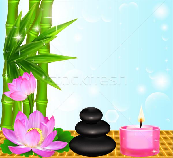 background Spa flower Palma stones and candle Stock photo © yurkina