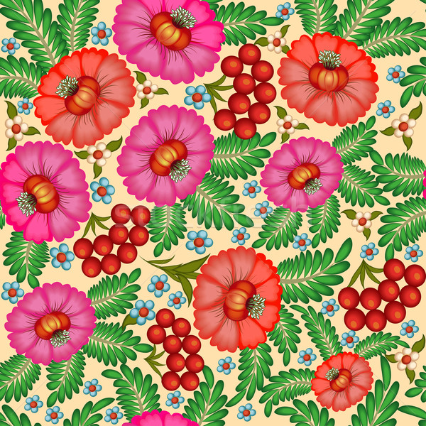 Illusztráció végtelenített festett virágok bogyók terv Stock fotó © yurkina