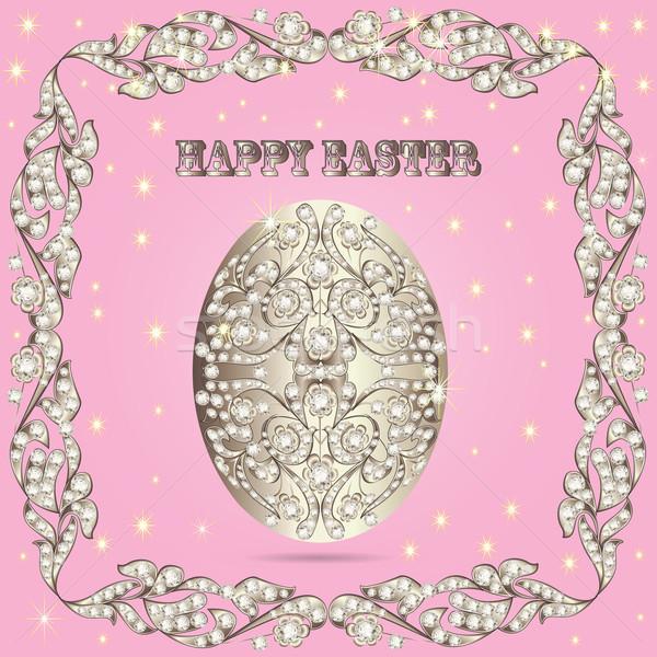 Tarjeta huevos de Pascua precioso piedras ilustración primavera Foto stock © yurkina