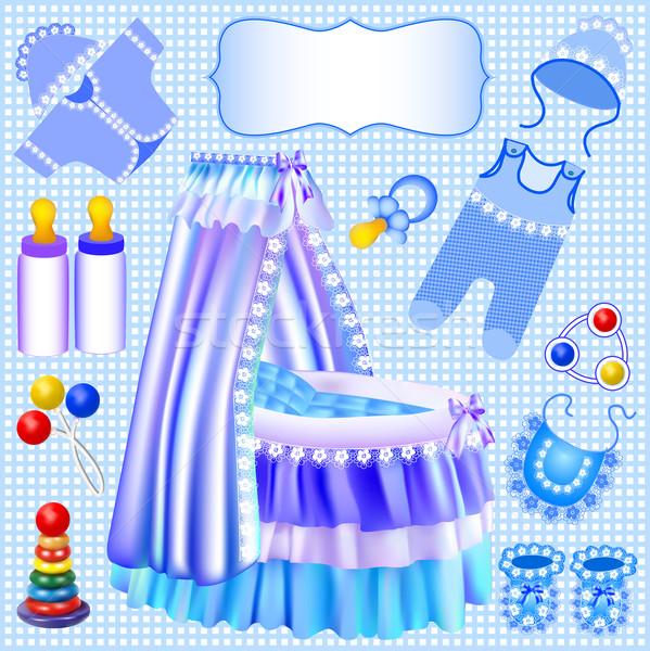 Niebieski zestaw kołyska ilustracja dziecko sztuki Zdjęcia stock © yurkina