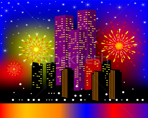 background townhouses with festive firework in the night Stock photo © yurkina