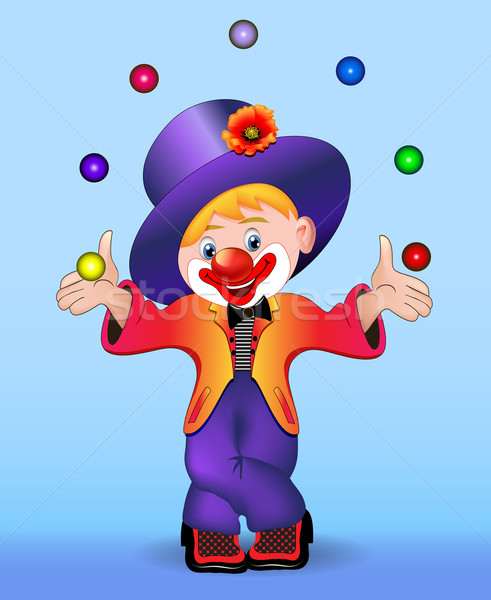 young cheerful clown juggles balls Stock photo © yurkina