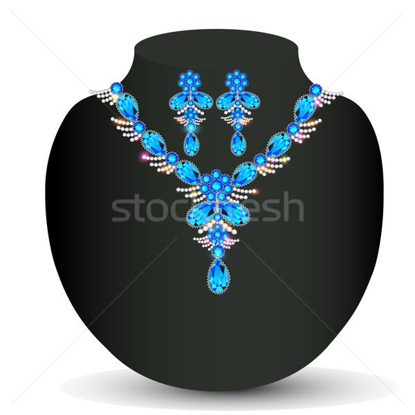 Illustrazione collana prezioso pietre moda oro Foto d'archivio © yurkina