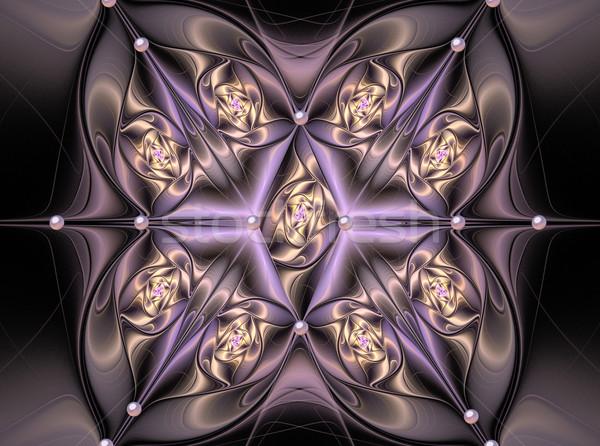 Ilustração fractal cetim travesseiro flores pérolas Foto stock © yurkina