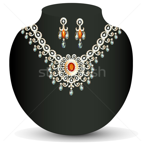 illustration women's necklace with precious stones and pearls Stock photo © yurkina