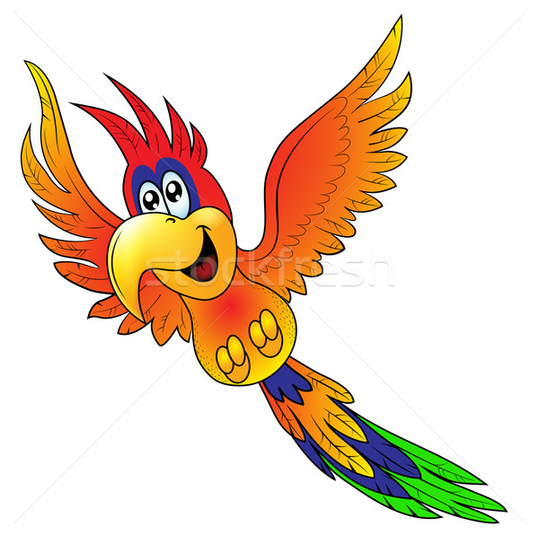 Merry flying parrot insulated on white background Stock photo © yurkina