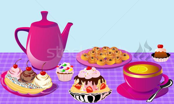 Thee citroen fruitcake cake illustratie Stockfoto © yurkina