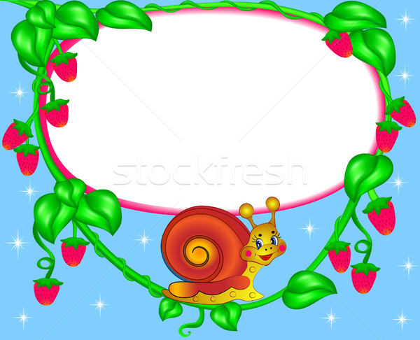 nursery frame for photo snail with berry Stock photo © yurkina