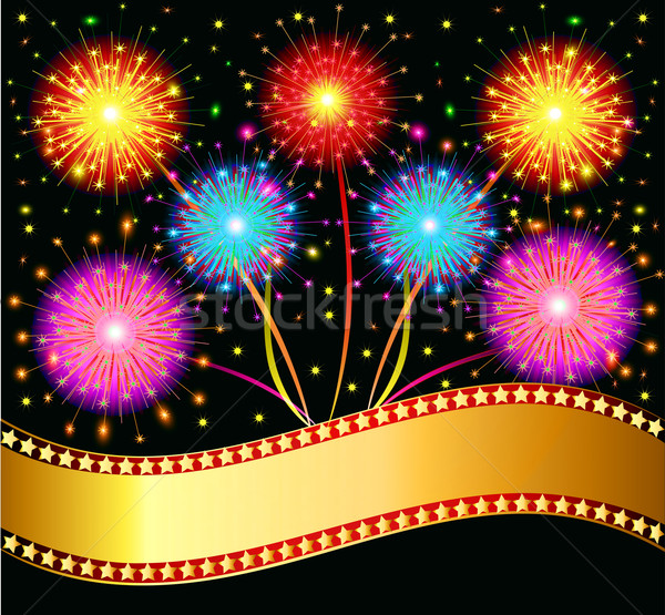 bright salute firework on black background Stock photo © yurkina