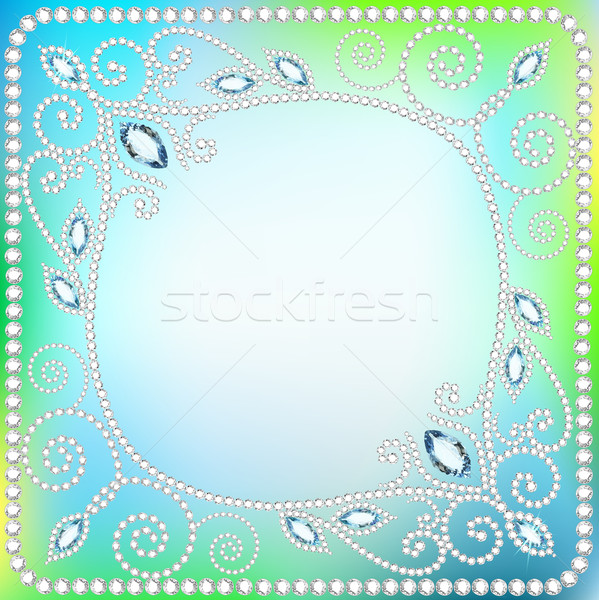 illustration background frame with  ornaments  of precious stonesŒ Stock photo © yurkina