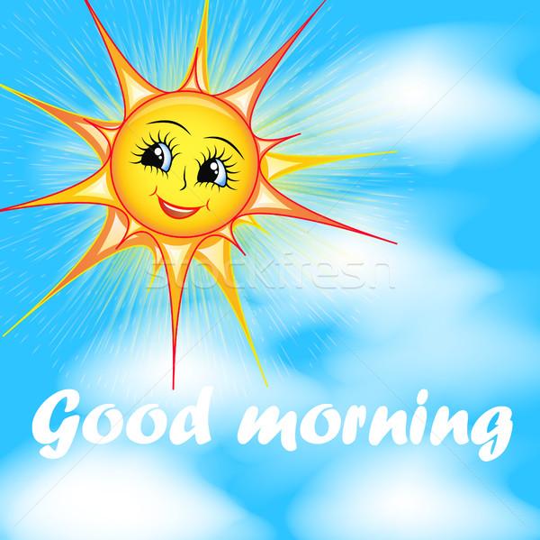 Fényes rajz illusztráció mosolyog nap égbolt Stock fotó © yurkina