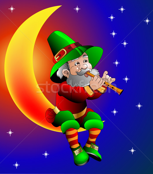 magician plays on flute sitting on moon in the night Stock photo © yurkina