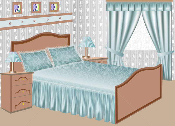 Innenraum Schlafzimmer Satin Kleid Illustration Haus Stock foto © yurkina