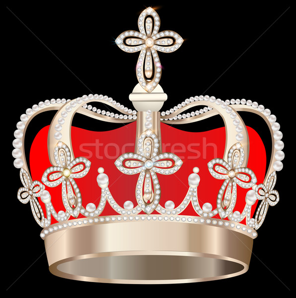 crown with pearls and crosses on black background Stock photo © yurkina