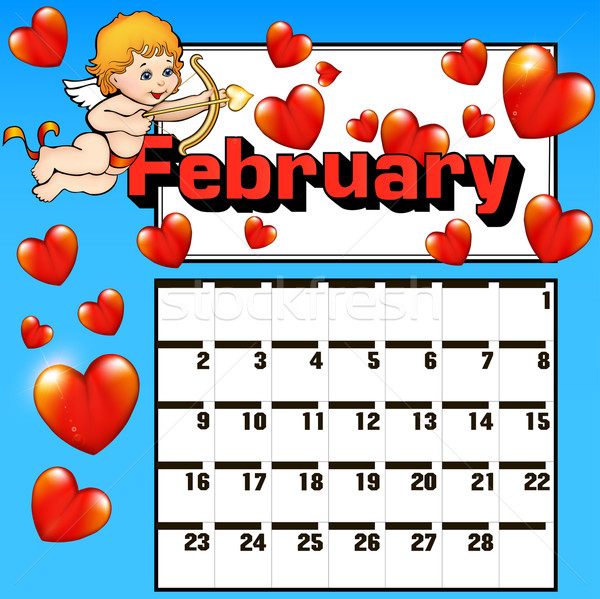 calendar for February Valentines day heart cupid bow Stock photo © yurkina