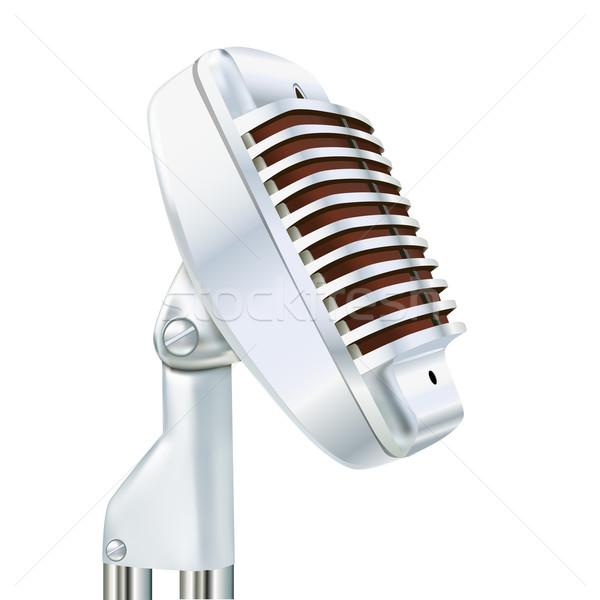 Alluminio microfono bianco illustrazione metal suono Foto d'archivio © yurkina