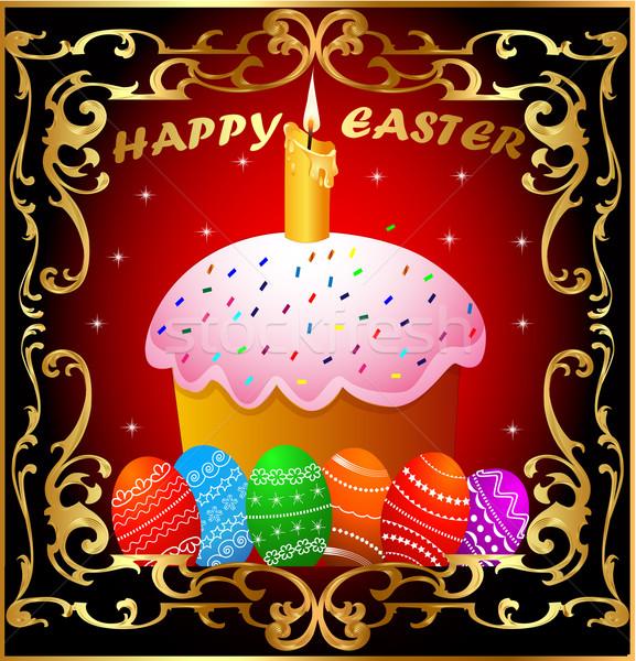 Húsvét gyertya színes tojás arany keret illusztráció Stock fotó © yurkina
