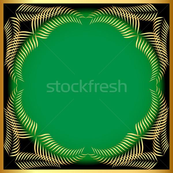Keret arany fül zöld illusztráció papír Stock fotó © yurkina