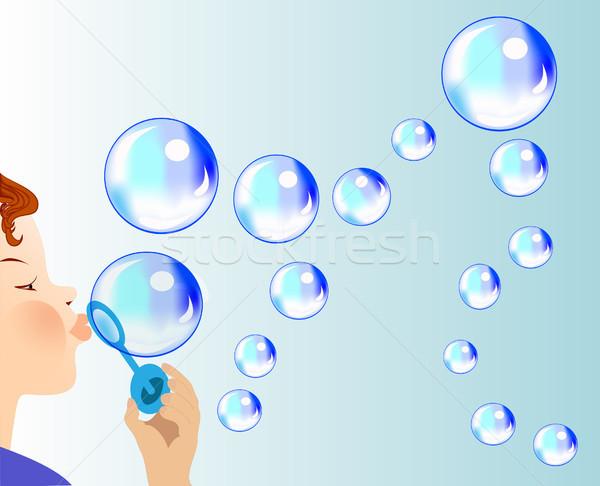 child blows soapy bubble Stock photo © yurkina