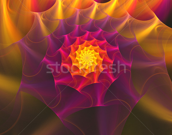 illustration fractal background with bright red flower with gold Stock photo © yurkina