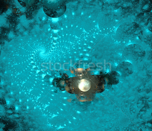 illustration of a fractal background blue spiral ornament Stock photo © yurkina