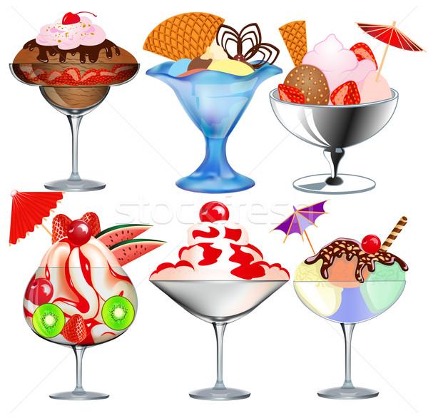 set of fruit ice cream in a glass beaker Stock photo © yurkina