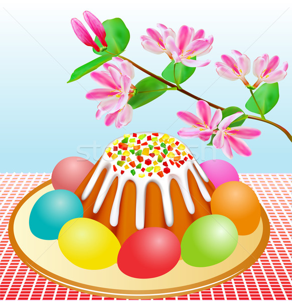 Pâque Pâques gâteaux oeufs cerise branche Photo stock © yurkina