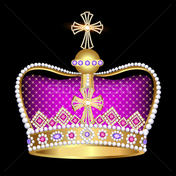 Stock photo: imperial crown with jewels on a black background