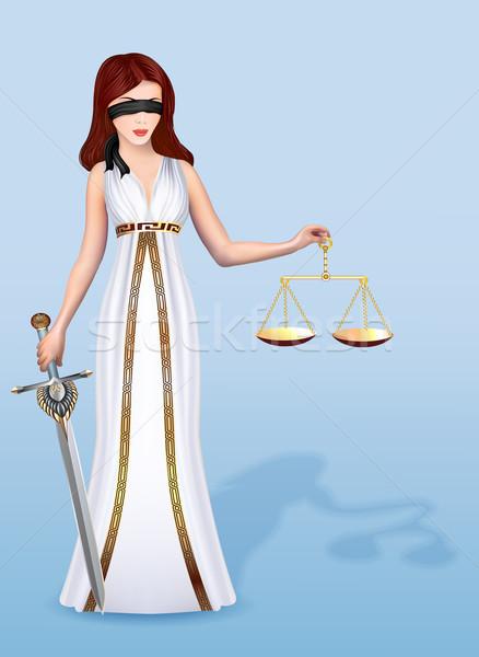 Stockfoto: Illustratie · vrouw · godin · justitie · schalen · zwaard