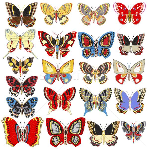 Illustration set of decorative butterflies on a white background Stock photo © yurkina