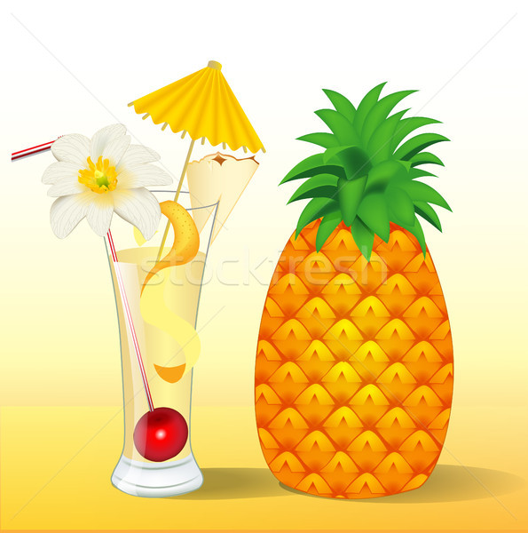 of pineapple juice in a glass with a flower Stock photo © yurkina