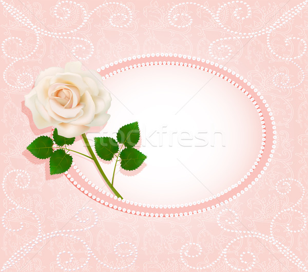 background for the invitation with pearls  and a rose Stock photo © yurkina