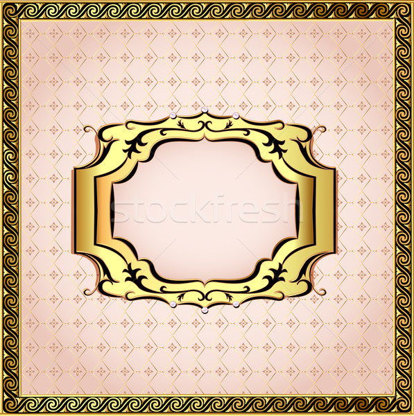 of a pink background framed with pearls and gold ornamentation Stock photo © yurkina