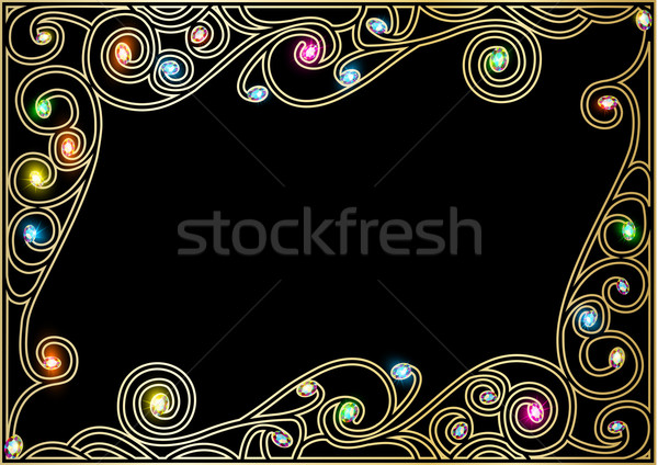 Orizontala cadru aur ornamente pretios ilustrare Imagine de stoc © yurkina