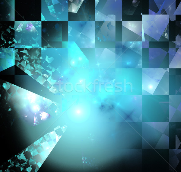 illustration of a fractal background with squares and mirrors Stock photo © yurkina