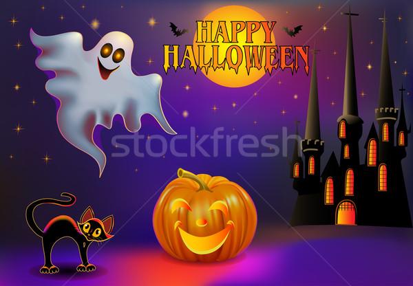 illustration background halloween with pumpkin and house Stock photo © yurkina