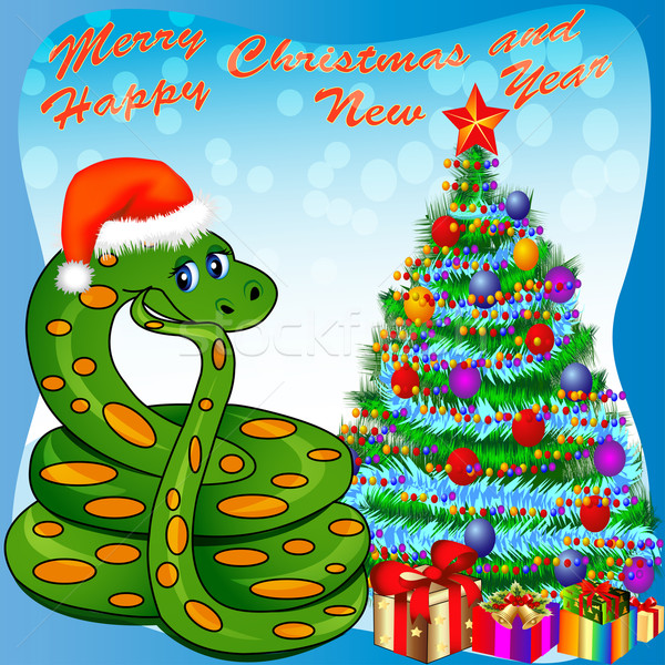 of a Christmas tree and a snake with gifts Stock photo © yurkina